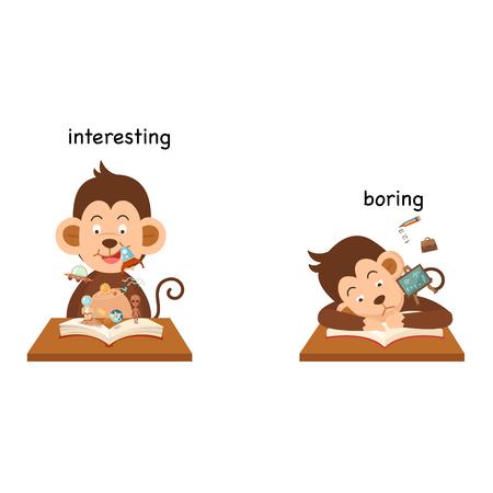 Frente a aburrido e interesante ilustración vectorial