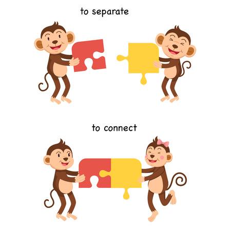 En face de se connecter et de séparer l'illustration vectorielle