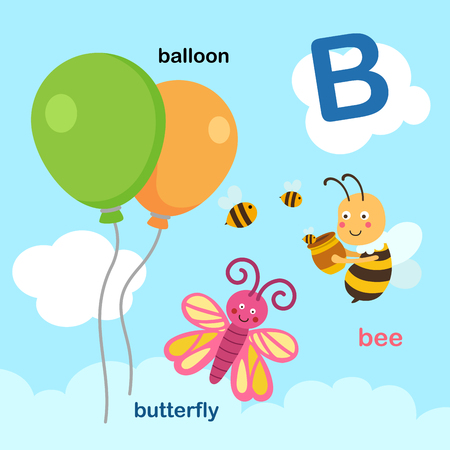 Illustration Isolated Alphabet Letter B-balloon,bee,butterfly.vector