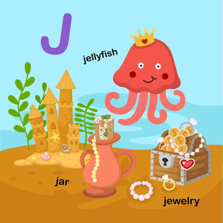 Illustration Isolated Alphabet Letter J-jar,jellyfish,jewelry.vector