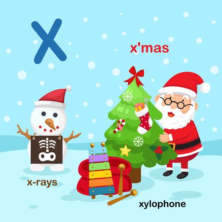 Illustration Isolated Alphabet Letter X-x-rays,xylophone,x'mas.vector Vettoriali