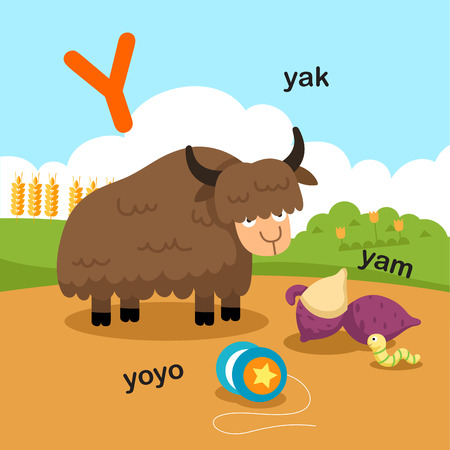 Illustration Isolated Alphabet Letter Y-yak,yoyo,yam.vector
