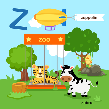 Illustration Isolated Alphabet Letter Z-zoo,zeppelin,zebra.vector