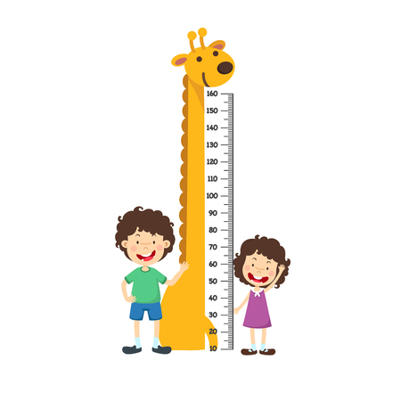 Meter wall with boy and girl.vector illustration