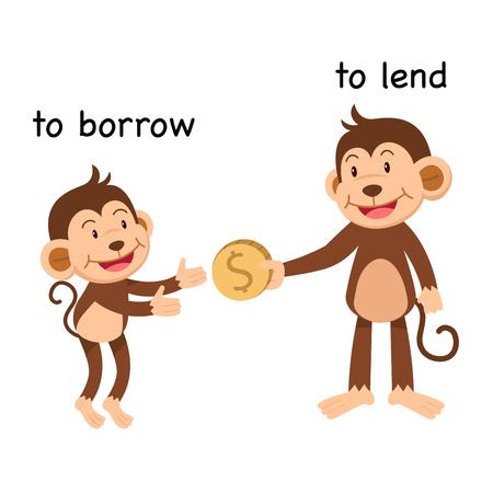 Frente a pedir prestado y prestar ilustración vectorial