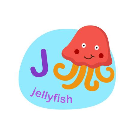 Illustration isolated alphabet letter j-jellyfish vector illustration