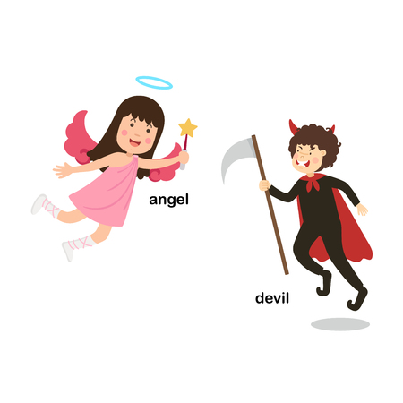 Opposite words devil and angel vector illustration