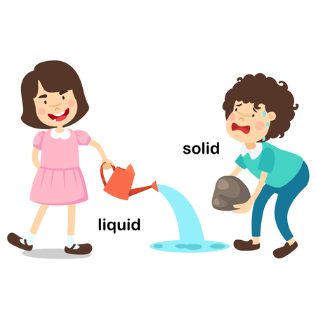 Opposite words liquid and solid vector illustration