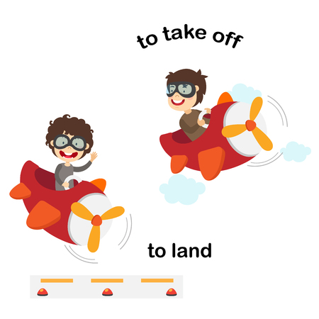 Opposite words to land and to take off vector illustration Ilustrace