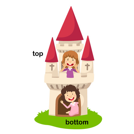 Opposite words bottom and top vector illustration