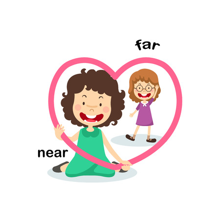 Opposite  near and far vector illustration