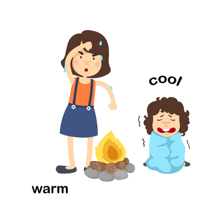 Opposite words warm and cool vector illustration Vector Illustration