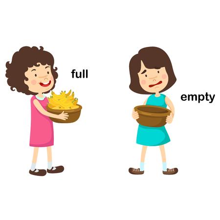 Opposite words full and empty vector illustration