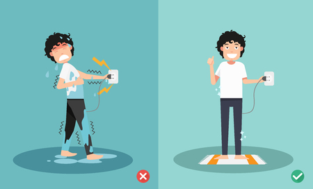 wrong and right for safety electric shock risk. vector illustration. Vector Illustration