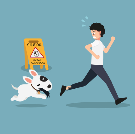 Danger guard dogs caution sign.illustration vector