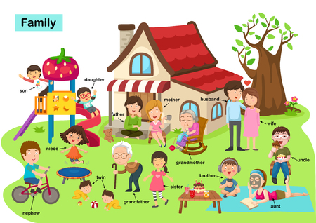 vocabulary family vector illustration