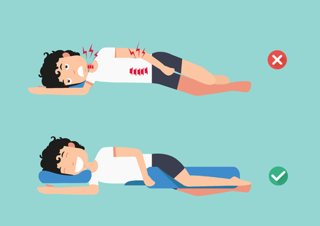 Orthopedic pillows,for a comfortable sleep and a healthy posture,Best and worst positions for sleeping, illustration, vector Ilustração