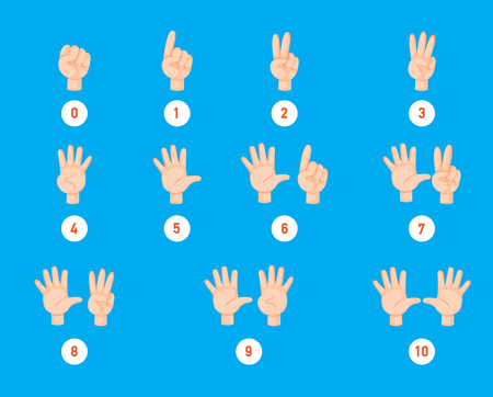 Hand count.finger and number, illustration vector Ilustração