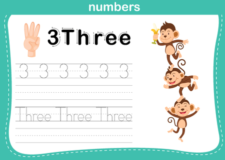 Hand count.finger and number,Number exercise illustration vector Ilustração