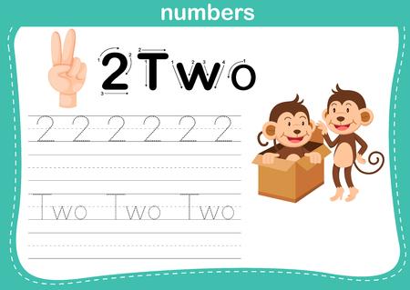 Recuento de manos dedo y número, vector de ilustración de ejercicio numérico