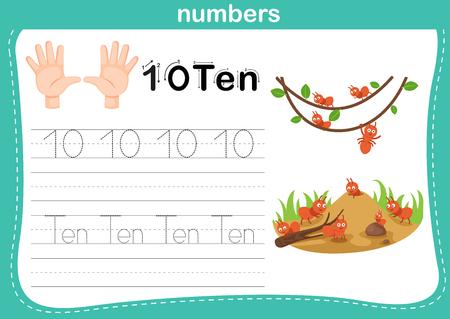 Hand count.finger und Zahl, Zahlenübungsillustrationsvektor Vektorgrafik