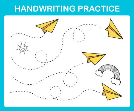 Vector de ilustración de hoja de práctica de escritura a mano