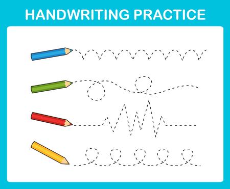 Illustration vectorielle de feuille de pratique de l'écriture manuscrite Vecteurs