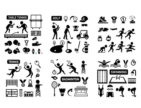 sport isolated icon set illustration vector Ilustração