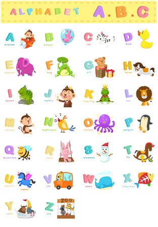 illustration of animal alphabet letter a-z