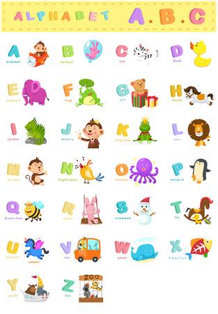 Ilustración de la letra del alfabeto animal az