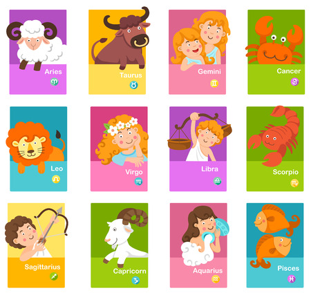 Set illustration with cartoon zodiac signs vector Ilustração