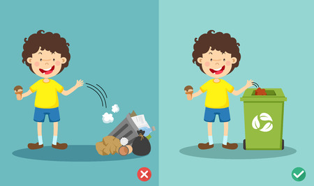 Do not throw littering on the floor,wrong and right.vector illustration Ilustração
