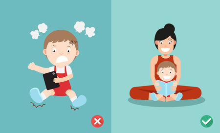 wrong and right way for kids stop using smartphone illustration vector Ilustracje wektorowe