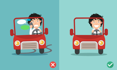 No enviar mensajes de texto, no hablar, formas correctas e incorrectas de conducción para evitar accidentes automovilísticos.Ilustración vectorial