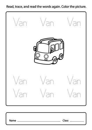 exercise for kids, Read, trace, and read the words again color the picture illustration, vector