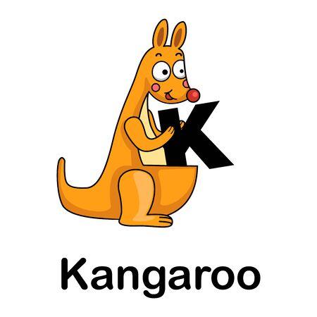 Ilustración de vector de alfabeto letra k-canguro