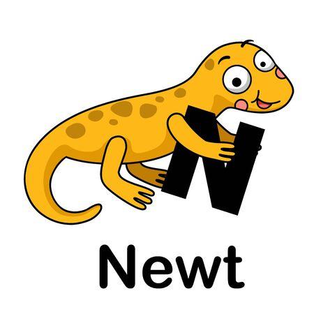 Alphabet Letter n-newt vector illustration  イラスト・ベクター素材