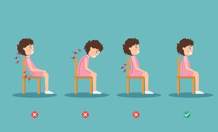 wrong and right ways positions for sitting,illustration, vector Vecteurs