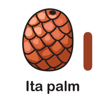 Alphabet Letter I-Ita palm vector illustration