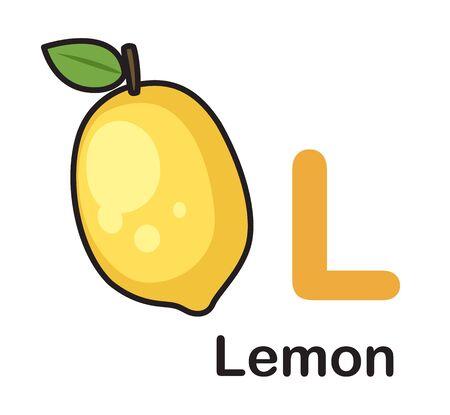 Alphabet Letter L-Lemon vector illustration  イラスト・ベクター素材