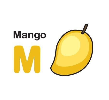 Alphabet Letter M-mango vector illustration