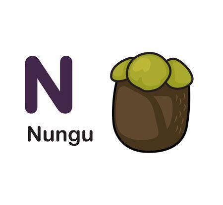 Alphabet Letter N-Nungu vector illustration