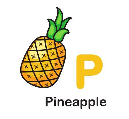 Alphabet Letter P-Pineapple vector illustration Ilustração
