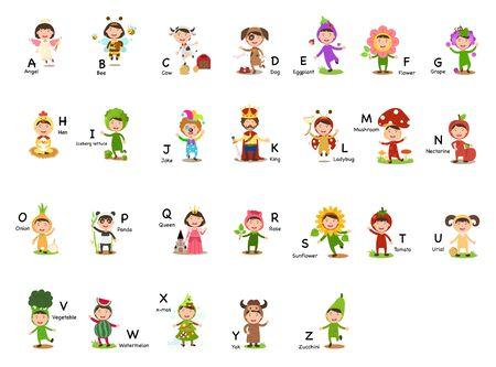 Alphabet Letter A-Z vector illustration  イラスト・ベクター素材