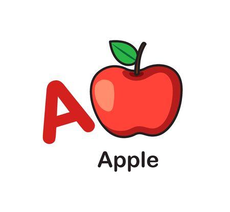 Alphabet Letter A-Apple vector illustration