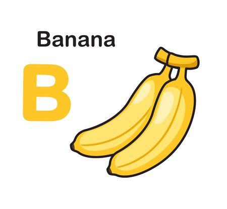 Alphabet Letter B-Banana vector illustration  イラスト・ベクター素材