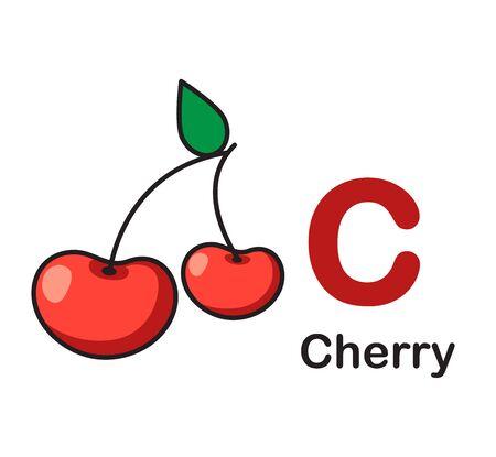 Alphabet Letter C-Cherry vector illustration