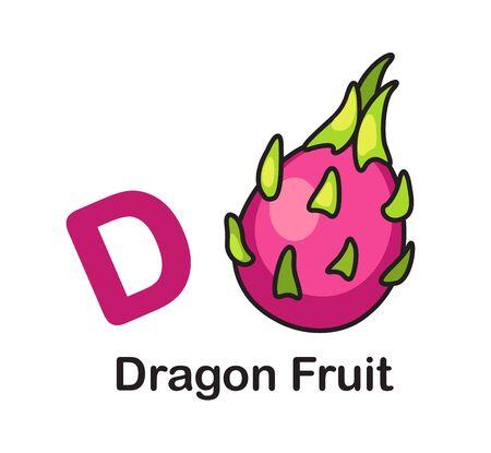 Alphabet Letter D-Dragon Fruit vector illustration Illusztráció