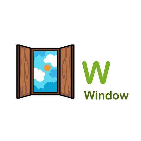 Alphabet Letter W-Window vector illustration