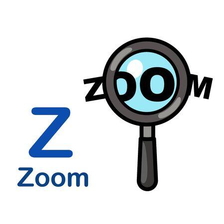 Alphabet Letter Z-Zoom vector illustration